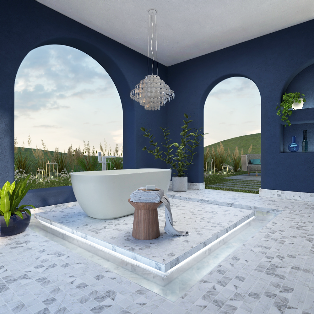 Diseño de baño, tina de baño, baño spa