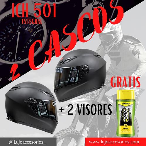 2  Casco Moto Ich Integral Certificado 501r Placas Gratis