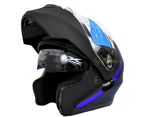 Casco X-ONE  abatible Azul placas Gratis