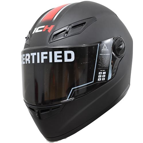 Casco Moto Ich Integral Certificado linea roja Placas Gratis