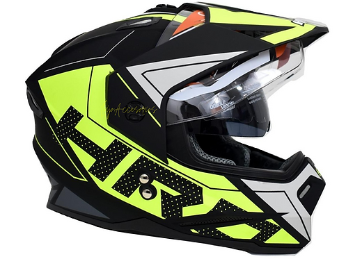 Casco hro Cross   Amarillo Neon  placas Gratis