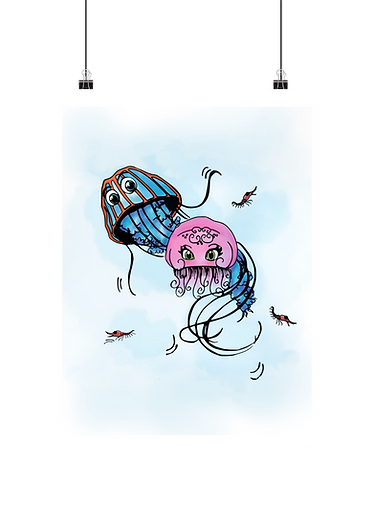 digital drawing of jellyfish