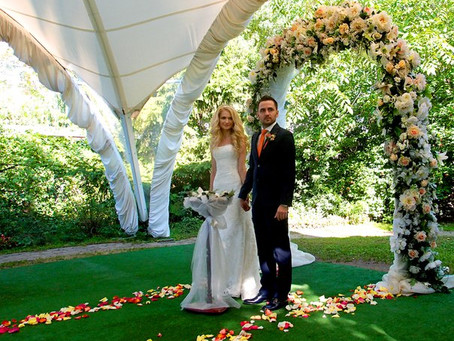 Мандариновая свадьба киношной пары Нелли & Андрея в Москве, ресторан Лето