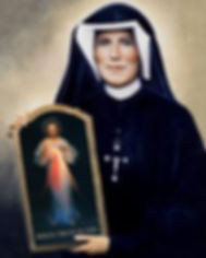 Saint Faustina holding Divine Mercy image