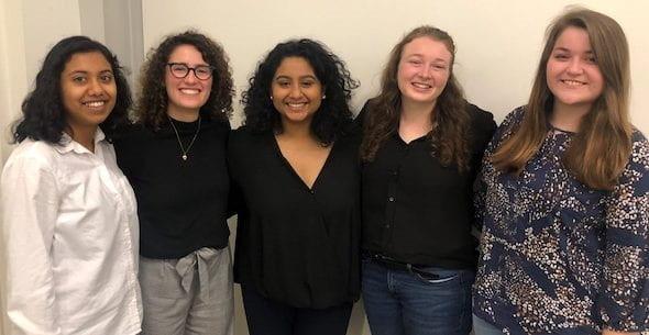 "Members of the award-winning ""At Your Cervix"" team, from left: Krithika Kumar, Elisa Arango, Sanika Rane, Susannah Dittmar, and Lauren Payne."