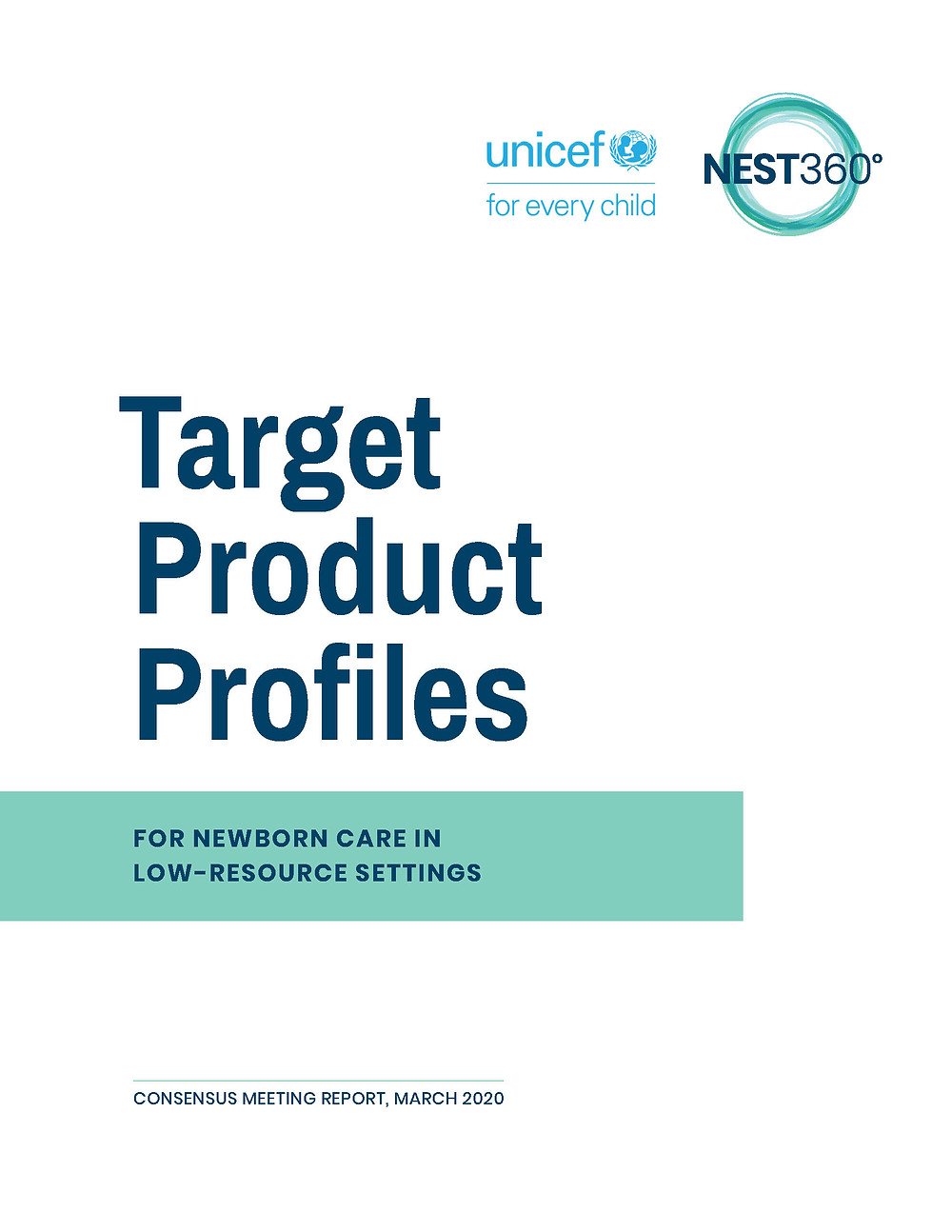 cover image for the target product profile document created by unicef and NEST