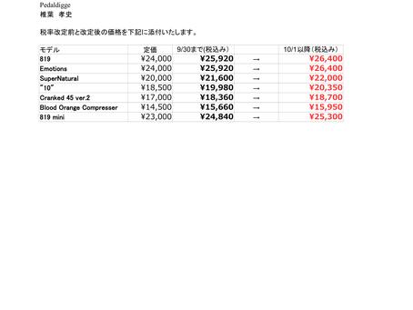 税率変更による販売定価について