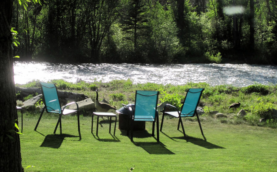 Outdoor seating along the Crystal River