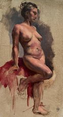 Female Nude with Red Robe