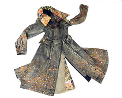 Bleached &painted denim coat
