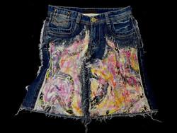 Re-fashioned Denim skirt front