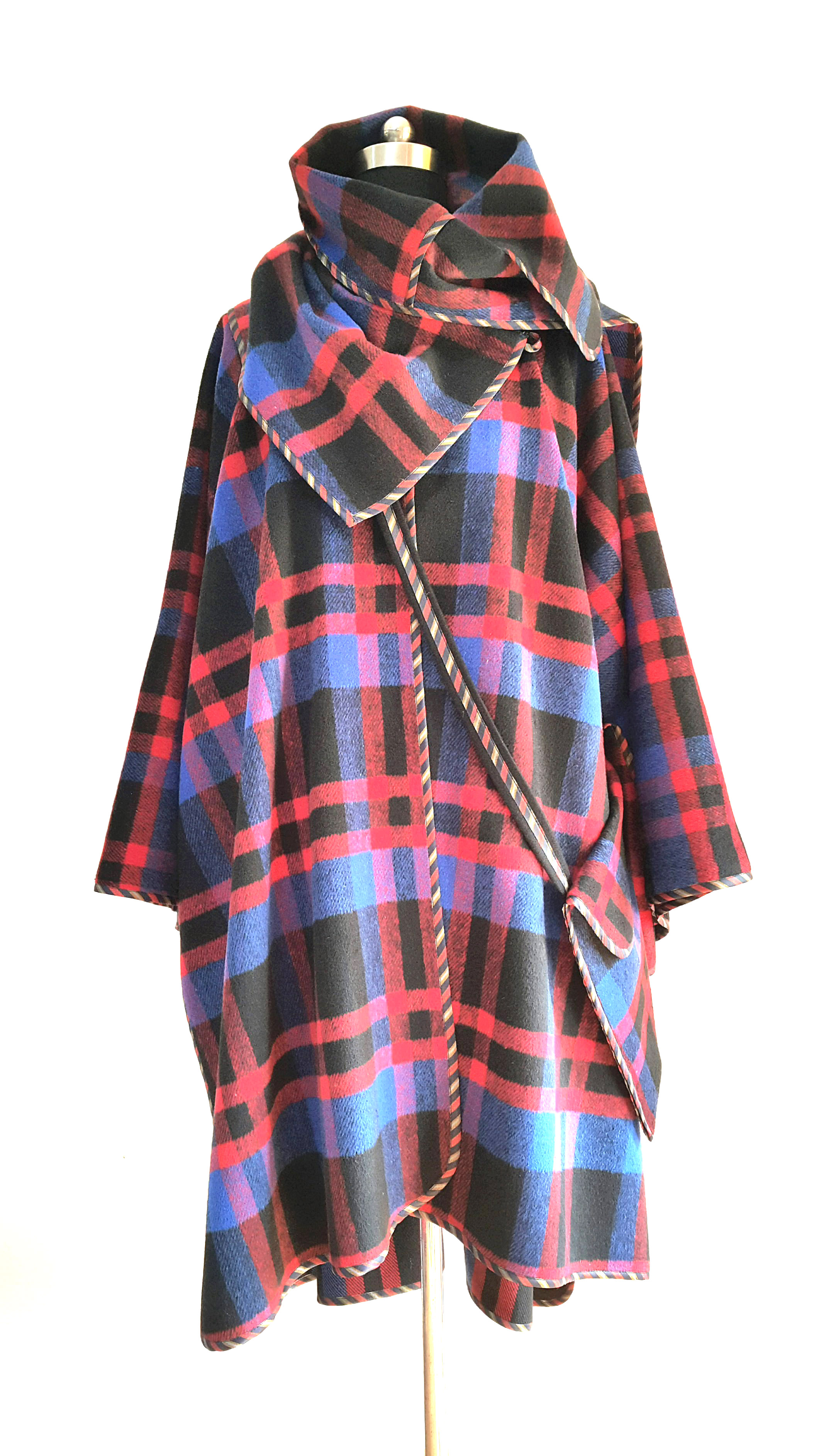 Kimono cape coat macro-pocket