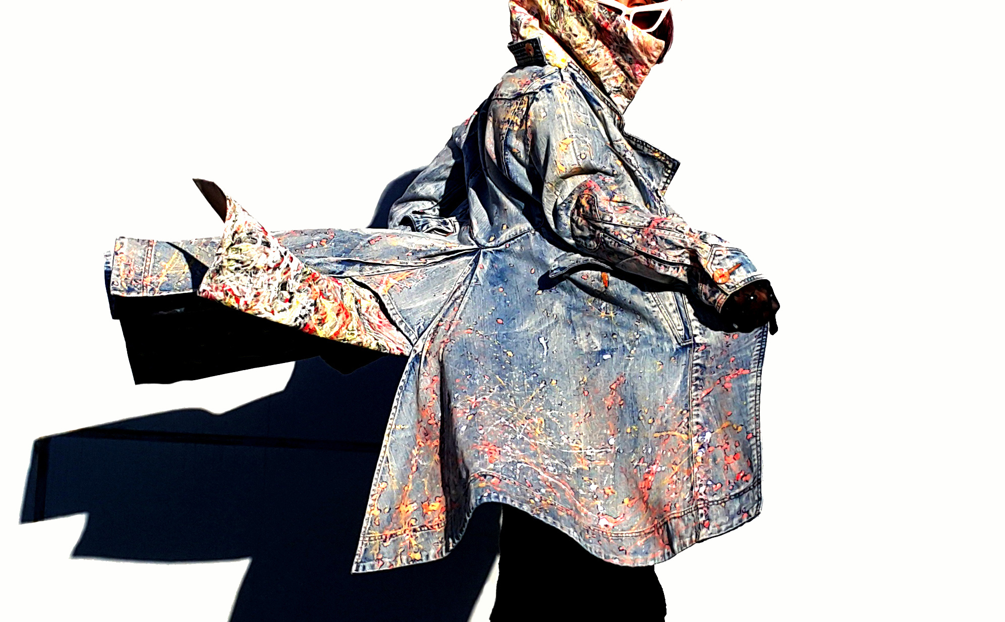 Paint splattered Denim Coat