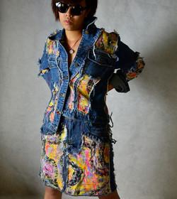 Denim Re-fashioned Skirt &Jacket