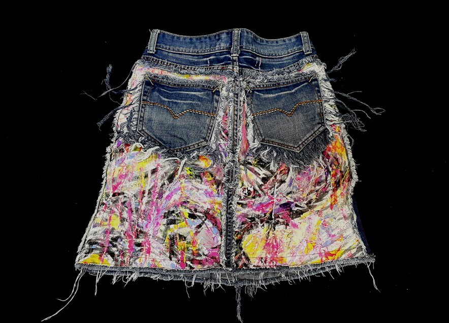 Hand-painted denim skirt back