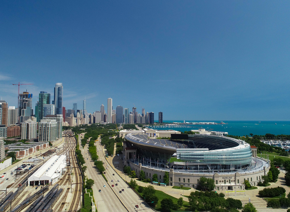 Aerial View of Soldiers Stadium and the Chicago Skyline