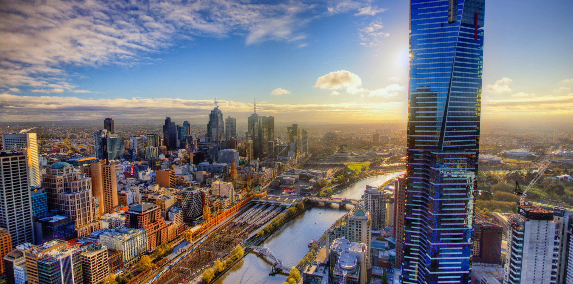 Aerial View of Melbourne Austrailia Skyline