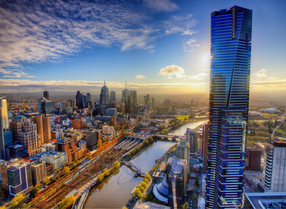 Aerial View of Melbourne Austrailia Skyline