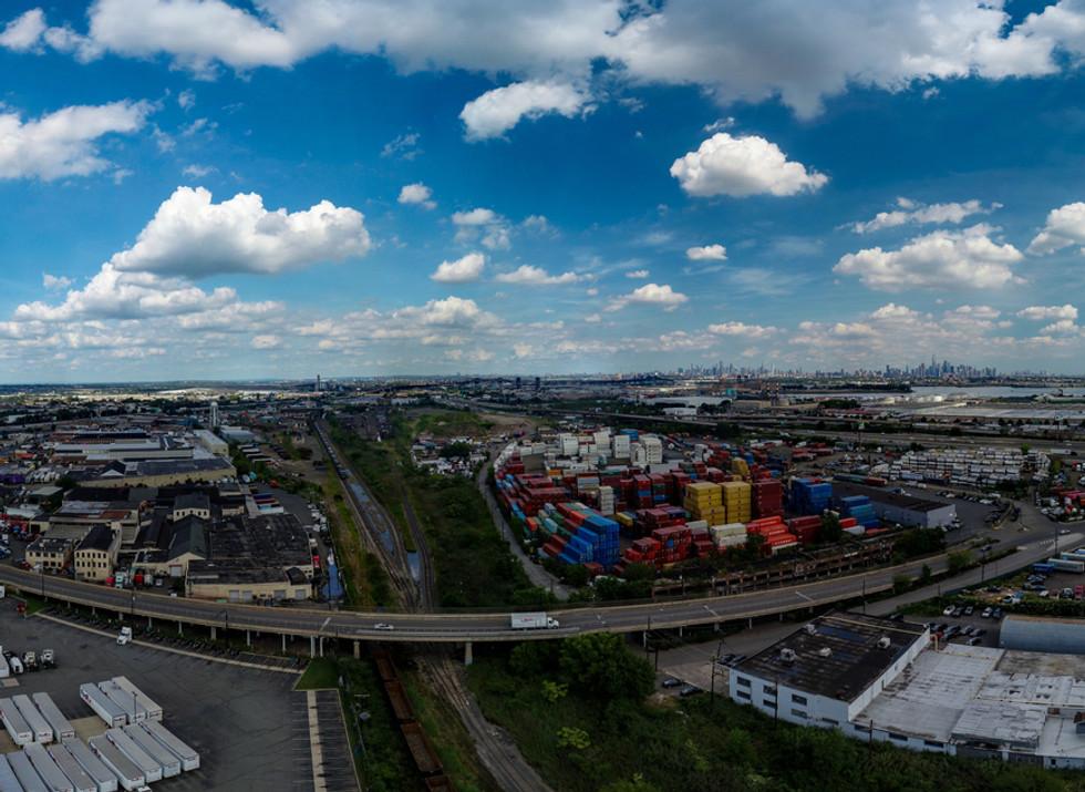 Aerial View of Industrial Area in Newark, NJ