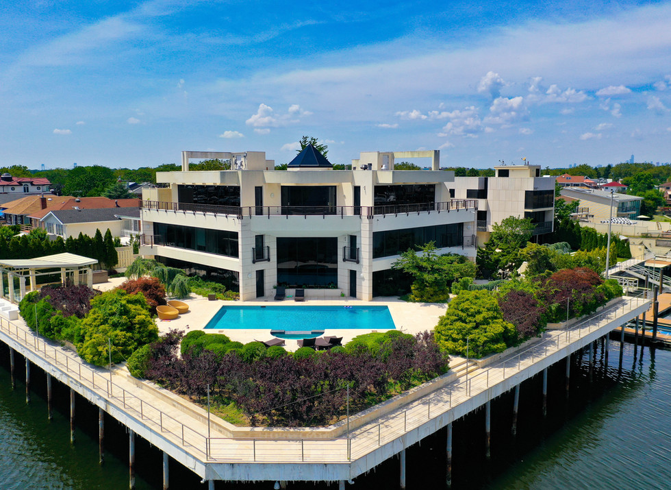 Aerial View of a Waterfront Mansion in Brooklyn