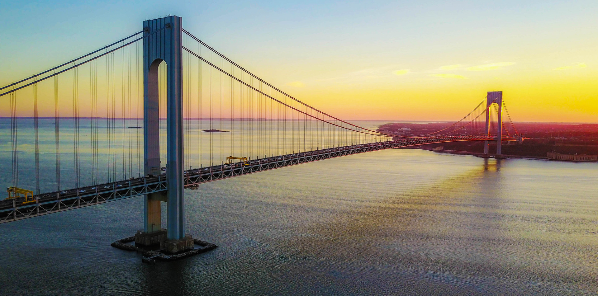 Aerial View of the Verrazano Bridge at Sunset