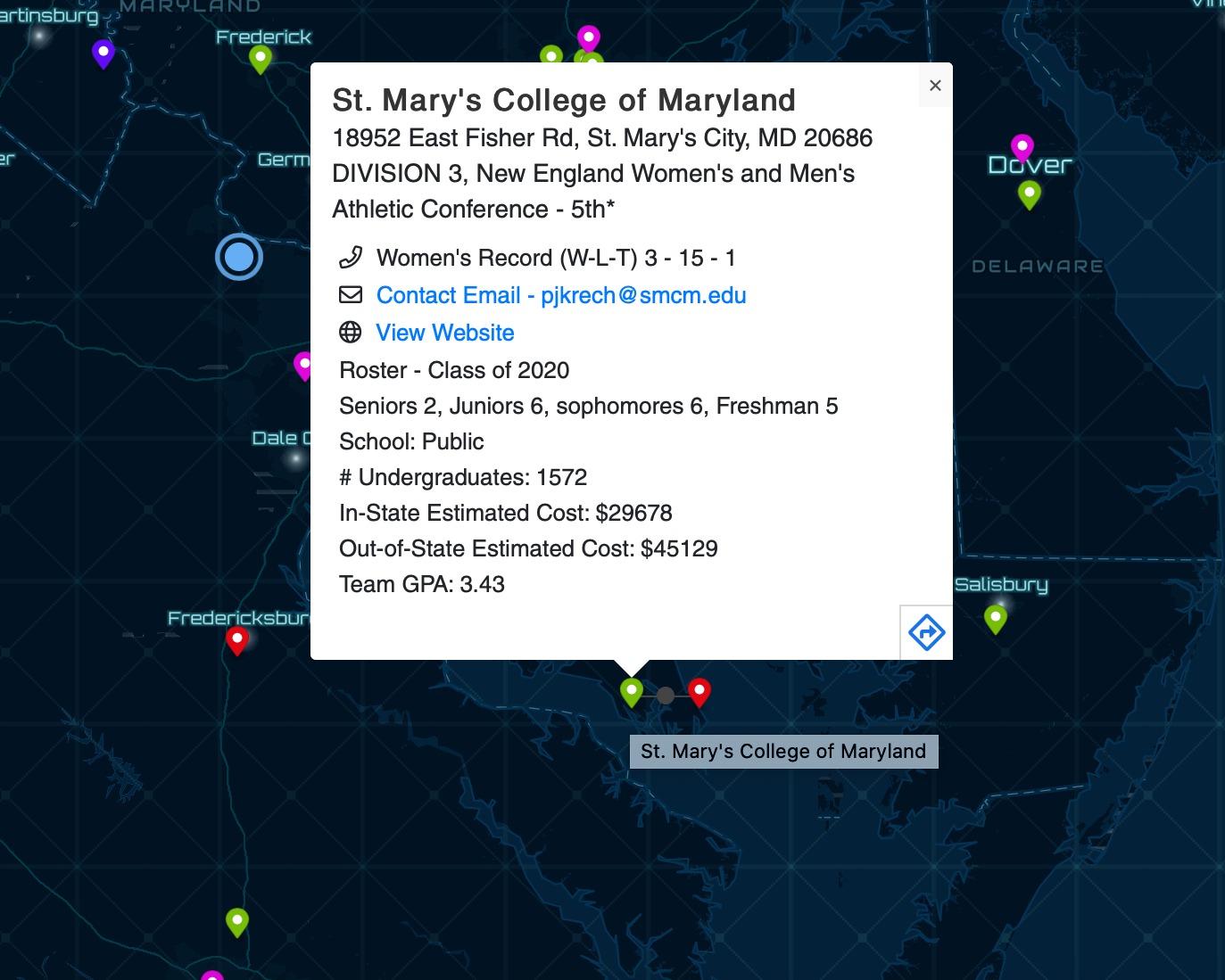 College Finder Map