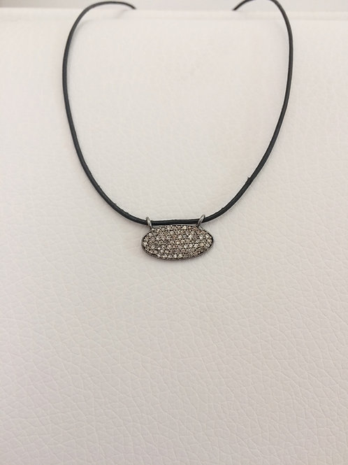Pave Diamond Oval Necklace Set in Oxidized Sterling Silver on adj Leather