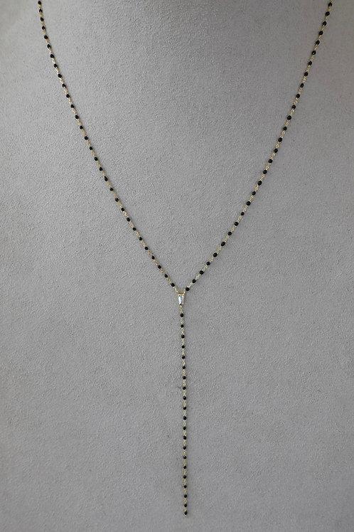 Sterling silver gold filled black enamel Y necklace