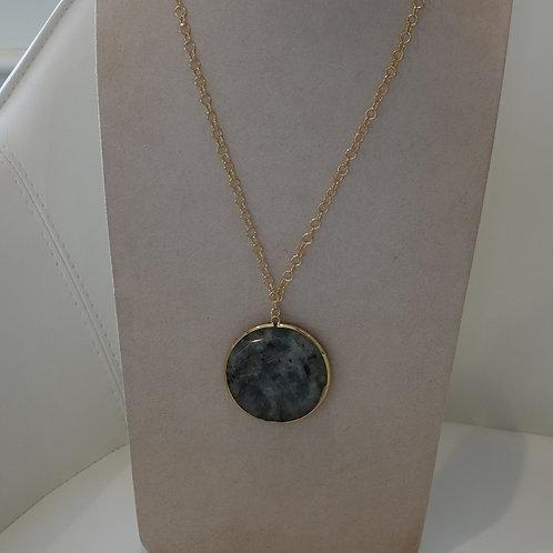 Yellow gold color Labradorite adjustable necklace