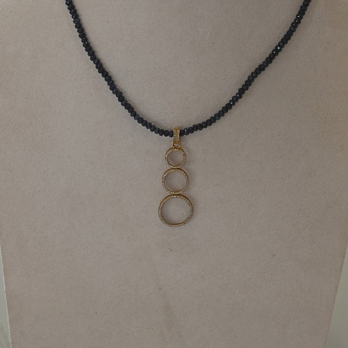 14kGF and Pave diamond tiered circles on obsidian stone chain.