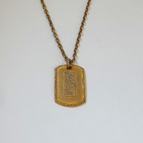 14 K GF Dog Tag Necklace with Adjustable clasp