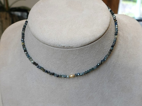 Multi colored jade chocker w/ 14k GF Bead