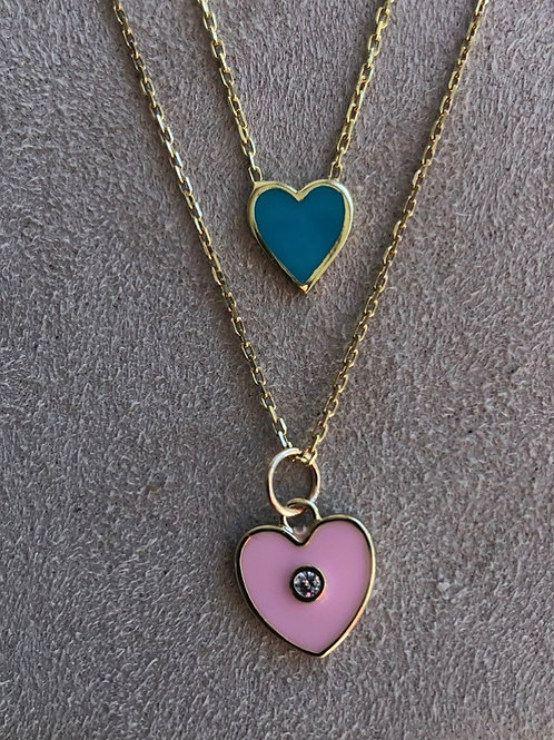 Enamel Heart Necklace - Available in  blue, pink and white