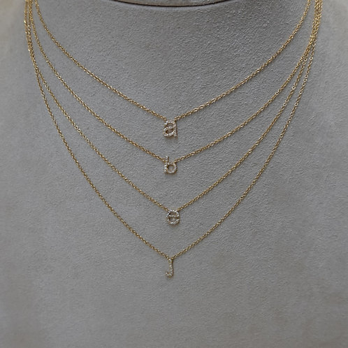 14 K GOLD and DIAMOND initial necklace