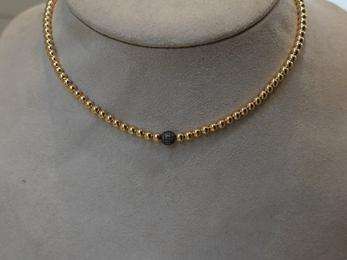 14 K GF Beaded necklace with pave diamond ball.