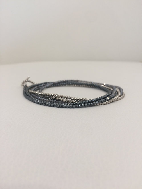 Beaded Quartz and Pyrite Wrap Bracelet/Necklace