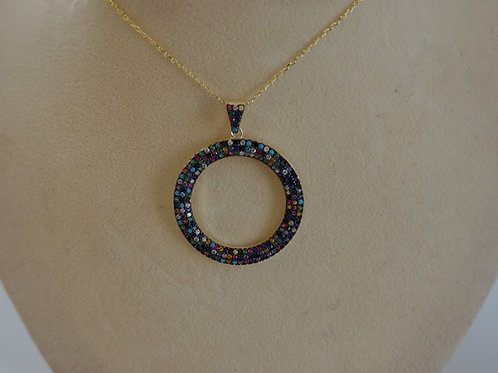 Sterling Silver gold filled multi stone circle necklace