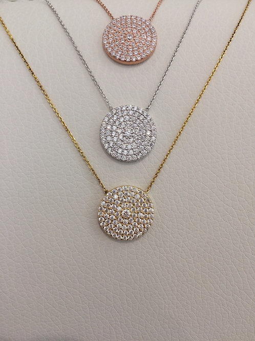 Sterling Silver Pave Medallion