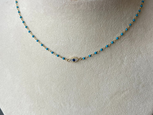 """Sterling silver Evil eye choker with adjustable chain. 14-16"""""""