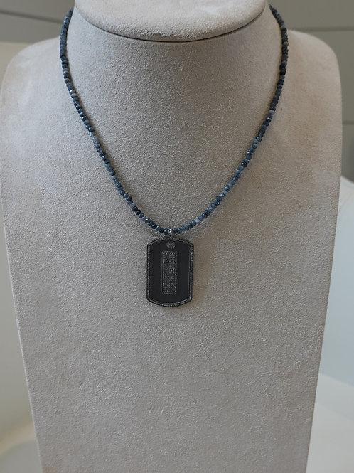 Pave diamond dog tag on multi stone necklace.