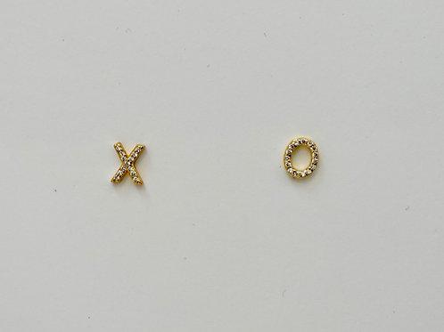 XO Earrings Sterling silver with 14 K GP