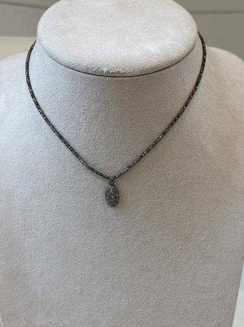 """Pave diamond tag on smoky quartz 16"""""""