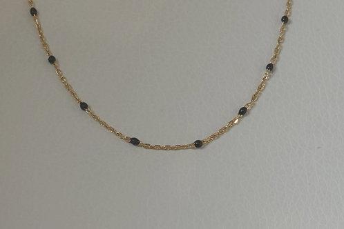 """14K GF 16"""" Black enamel necklace"""