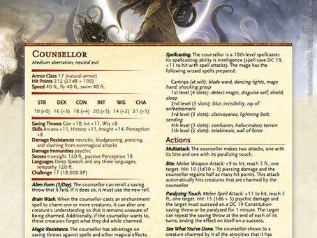 The Counsellor - A Mind Controlling Monster for DnD 5e.