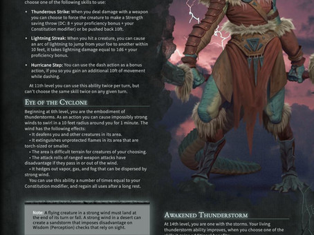 Path of Thunderstorms - A Barbarian that Wields Thunder to Shatter its Foes in D&D 5e.