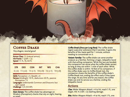 Coffee Drake - A cute dragon companion/familiar for D&D 5e