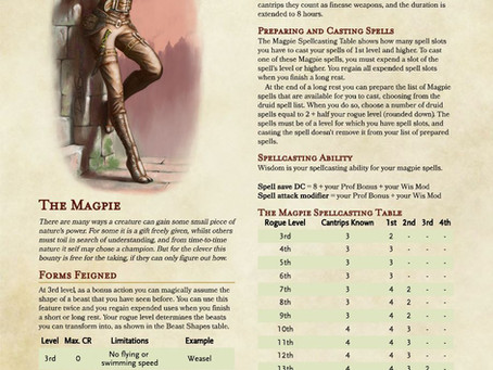 Rogue Subclass: The Magpie - Add a touch of druid to your rogue in D&D 5e