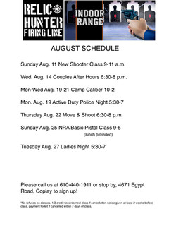 August 2019 schedule