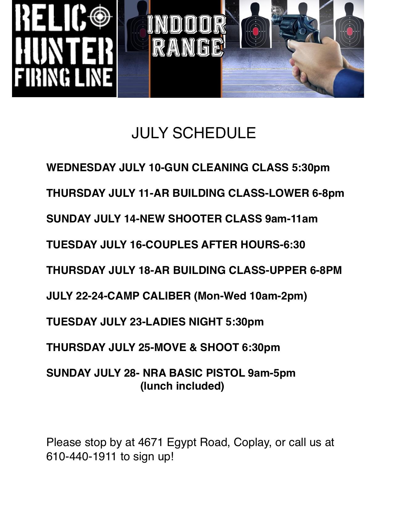 July Schedule-