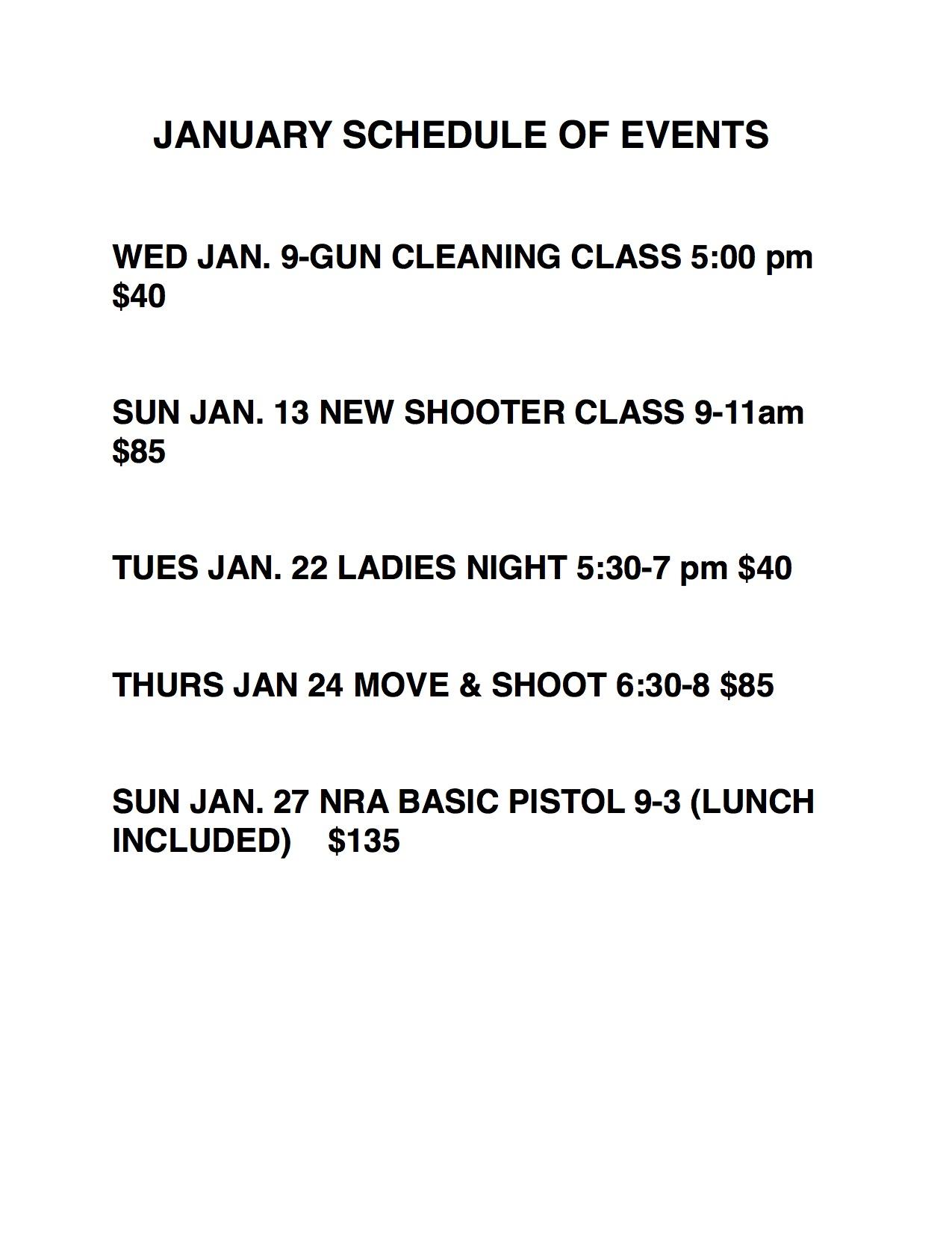 jan 2019 schedule